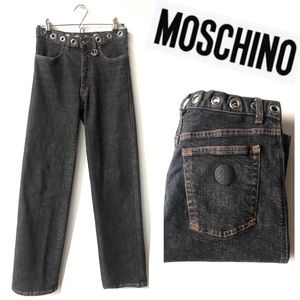 MOSCHINO Retro Hippie High Rise Wide Leg Denim